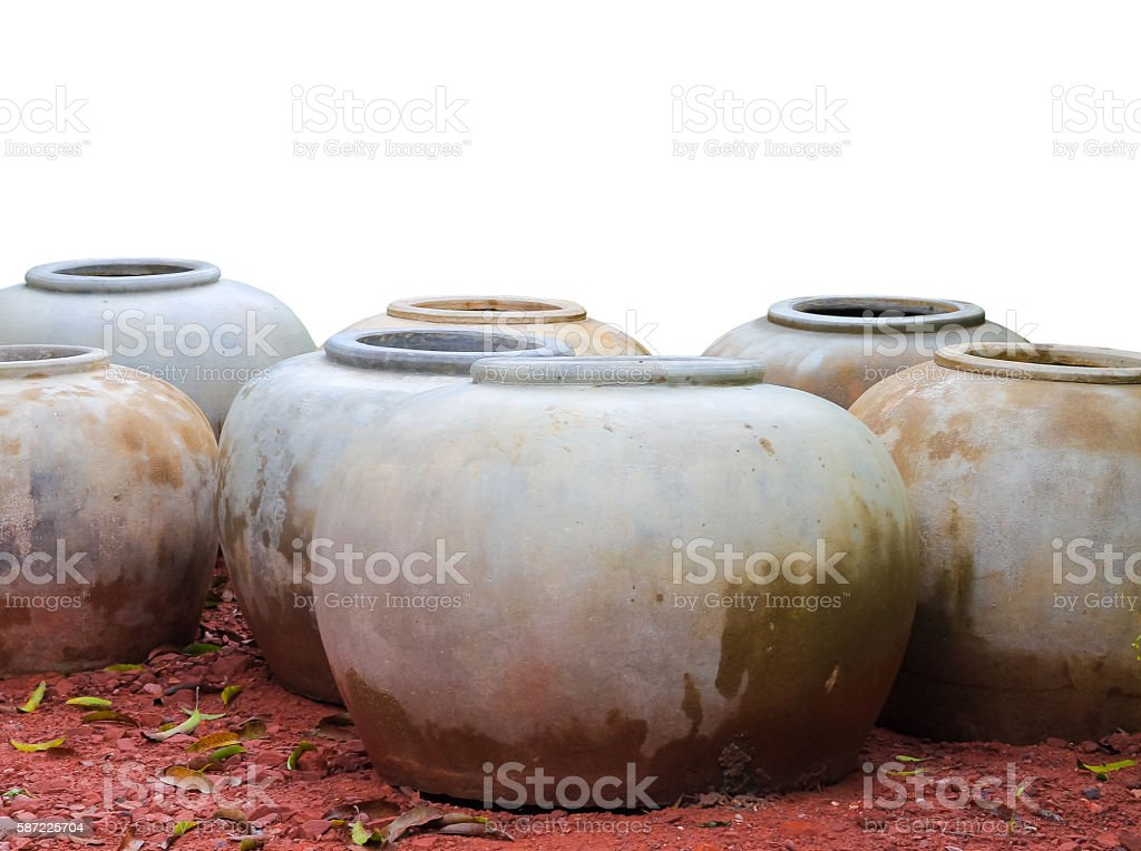 Clay jars for water,a wide-mouthed, cylindrical container made o stock photo