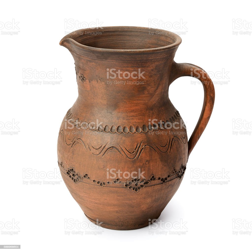 Clay jug isolated on white stock photo