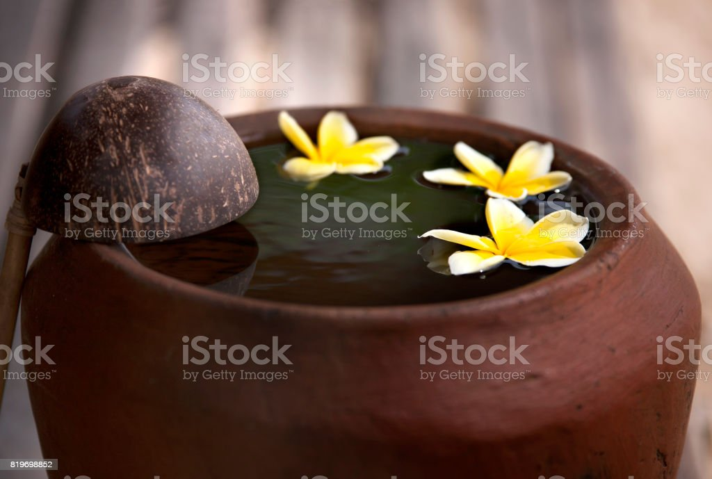 Clay jug with flower plumeria or frangipani decorated on water. Bowl in zen style for spa meditation mood stock photo