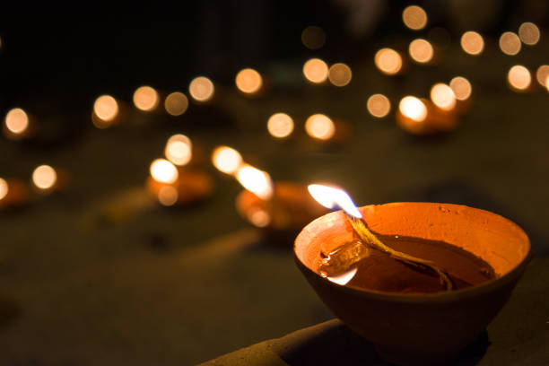 Clay lamps on the Hindu festival of stock photo