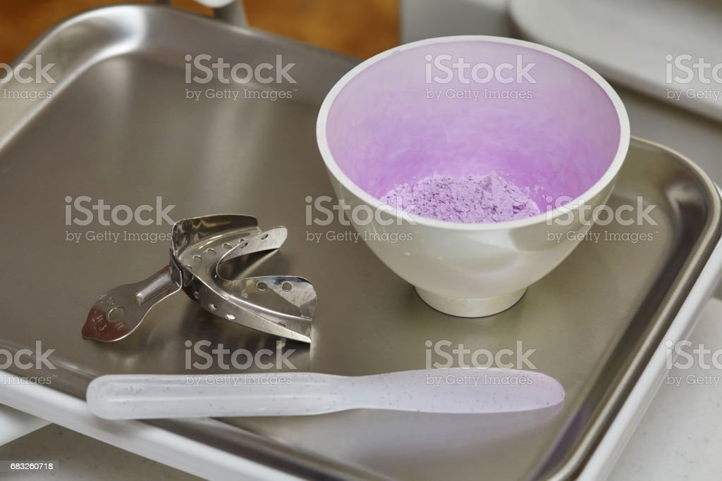 Clay material and dental tools for model print mold mouth foto de stock royalty-free