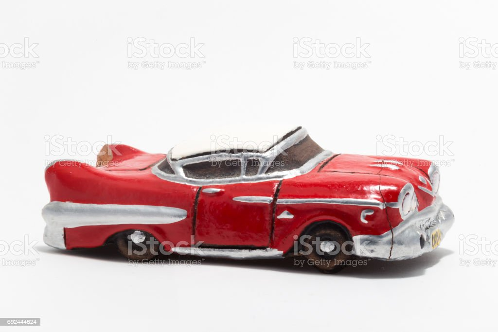 Clay Model Of A Old Fashioned Red Car From The 1950s Or 1960s ...