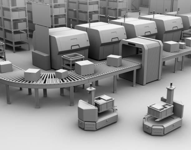 Clay Modell rendern selbst fahren Gabelstapler AGV neben Förderband – Foto