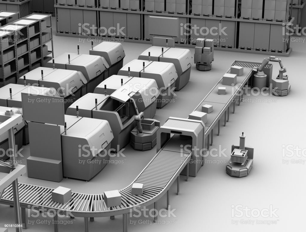 Clay Modell Rendering von AGV Kommissionierung Teile aus Metall-3D-Drucker – Foto