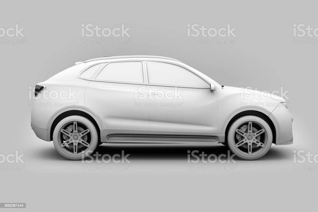Clay model rendering of Electric SUV concept car stock photo