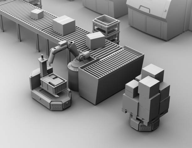 Clay Modell Rendering der Roboterarm Kommissionierung Paket zu einer selbst fahren Gabelstapler AGV – Foto