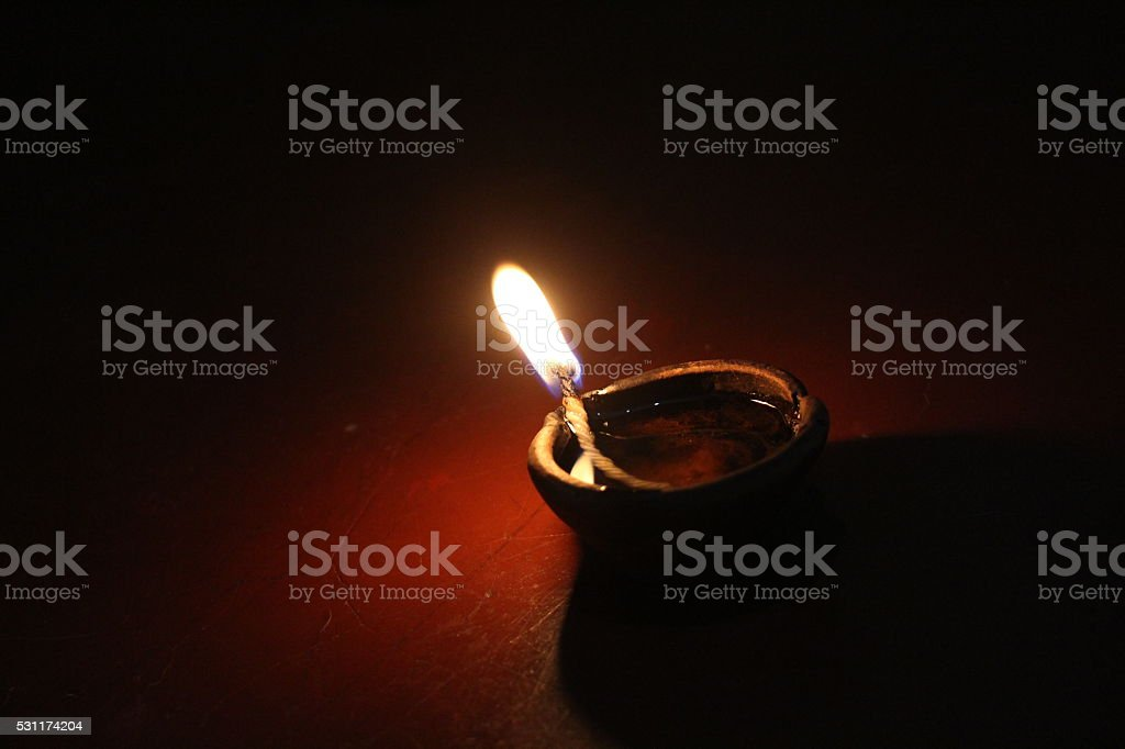 Clay Oil Lamp stock photo