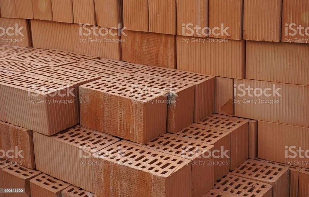 Clay orange bricks stock photo