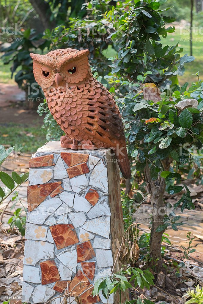 Clay owl stock photo