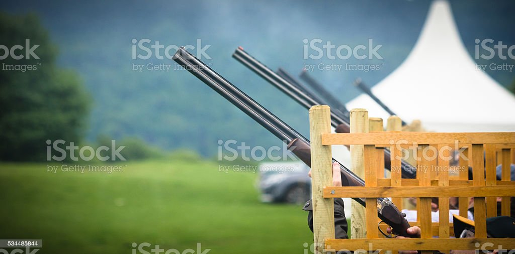 Clay pigeon shooting stock photo