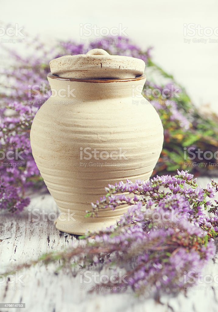 Clay pot and heather royalty-free stock photo
