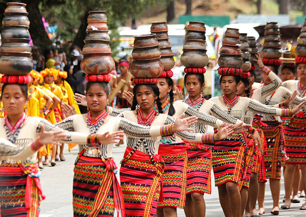 clay pot head balancing - baguio city stock photos and pictures