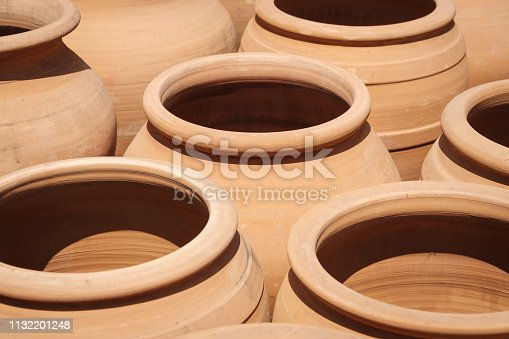 clay pots, empty terracotta pot collection   -