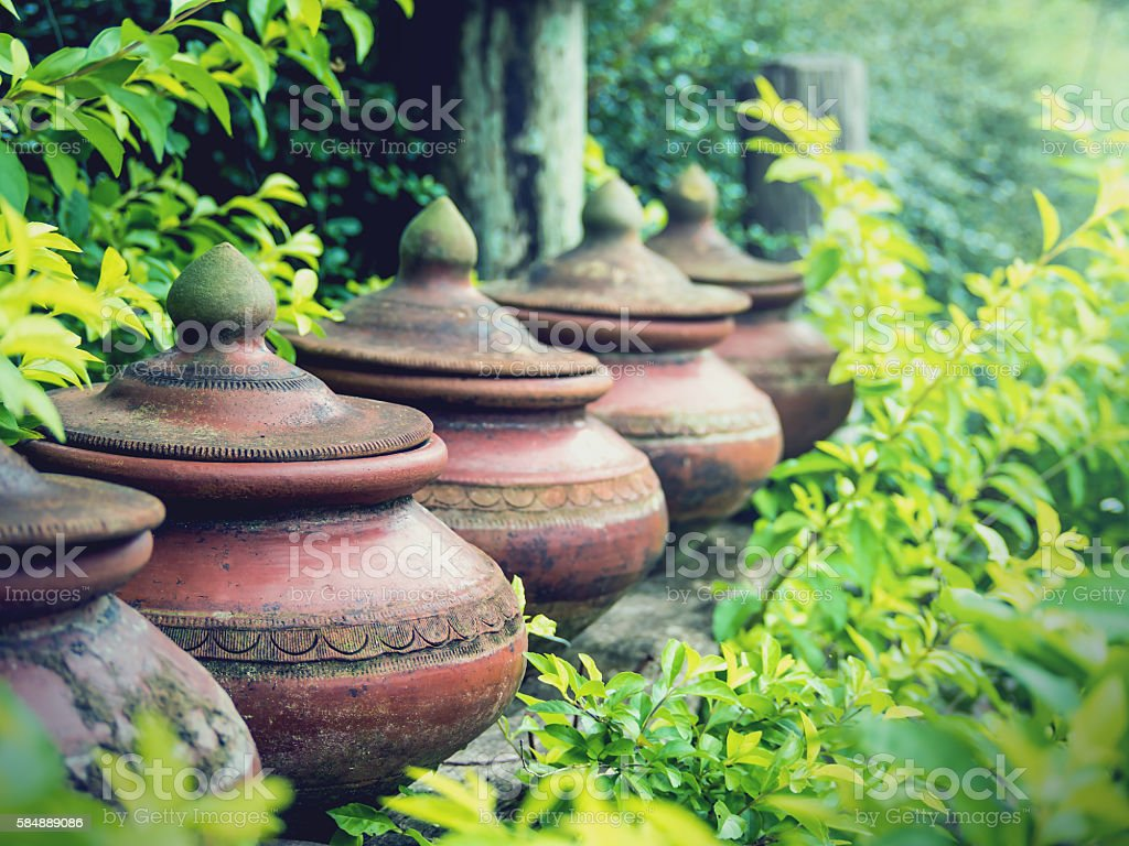 Clay pots used to put drinking water stock photo