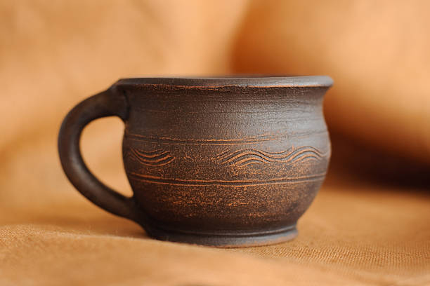 clay pottery cup stock photo