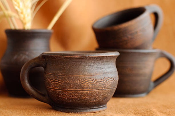 clay pottery cups stock photo