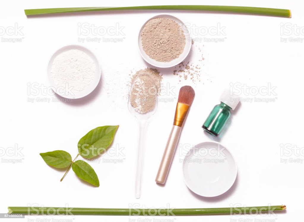 Clay powder and water - facial mask ingredients stock photo