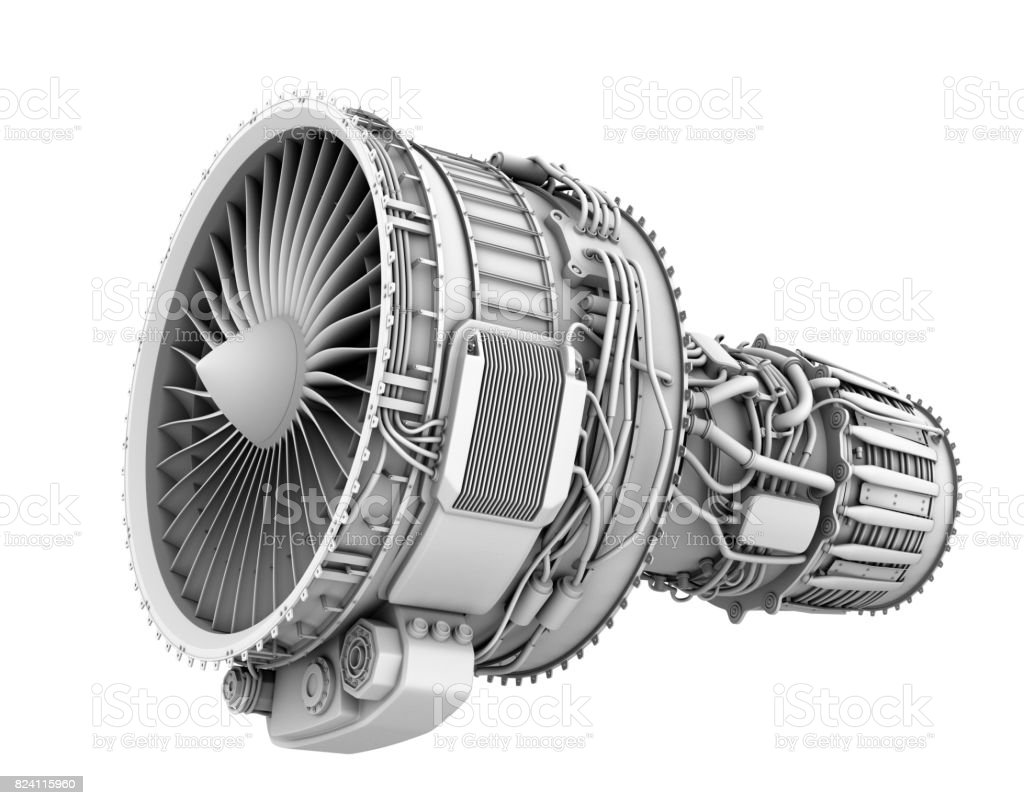 3D clay render of turbofan jet engine isolated on white background stock photo