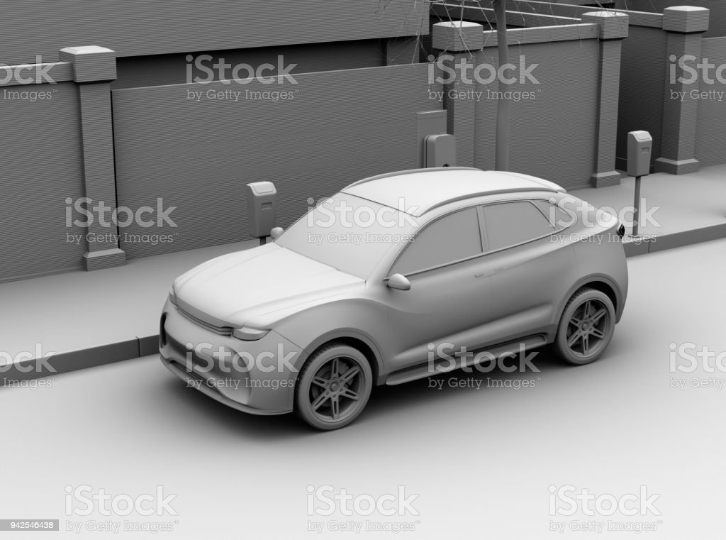 Clay rendering image of electric SUV charging at charging station in the street stock photo