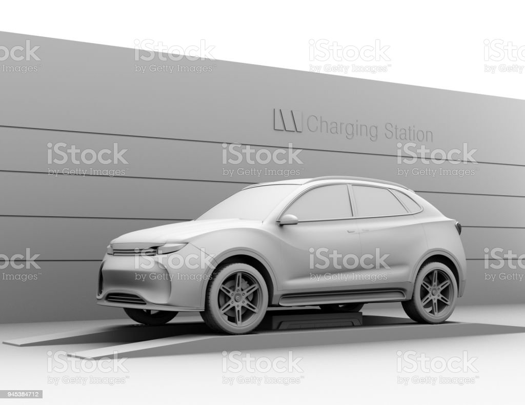 Clay rendering image of electric SUV in battery swapping station stock photo