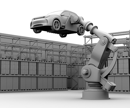 istock Clay rendering image of heavyweight robotic arm carrying white SUV in the assembly factory 948418170