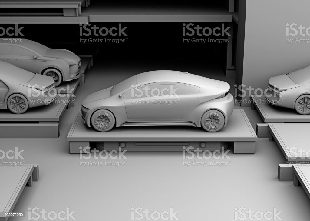 Clay rendering of automated guided vehicle carrying a car to parking space stock photo