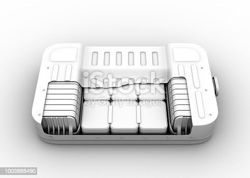 istock Clay rendering of electric vehicle battery pack. Cutaway view 1003888490