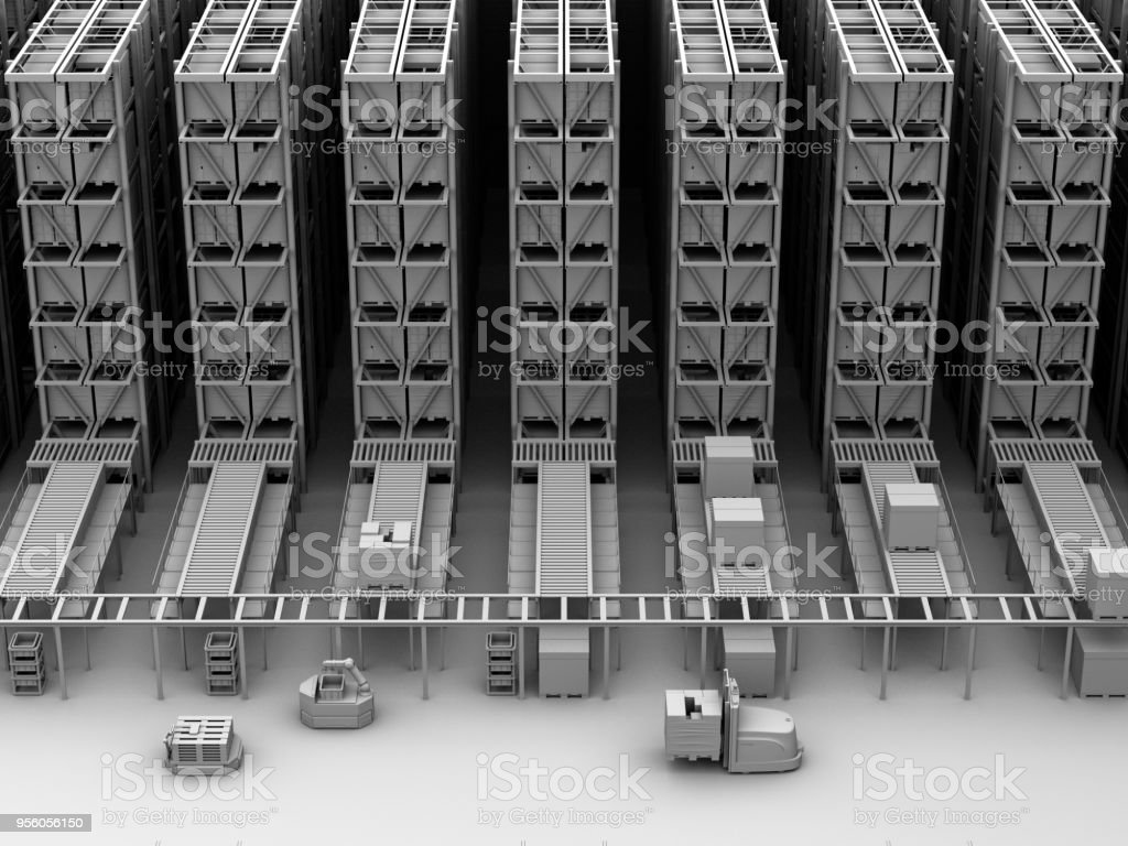 Clay Darstellung der modernen automatisierten Logistikzentrum Interieur – Foto