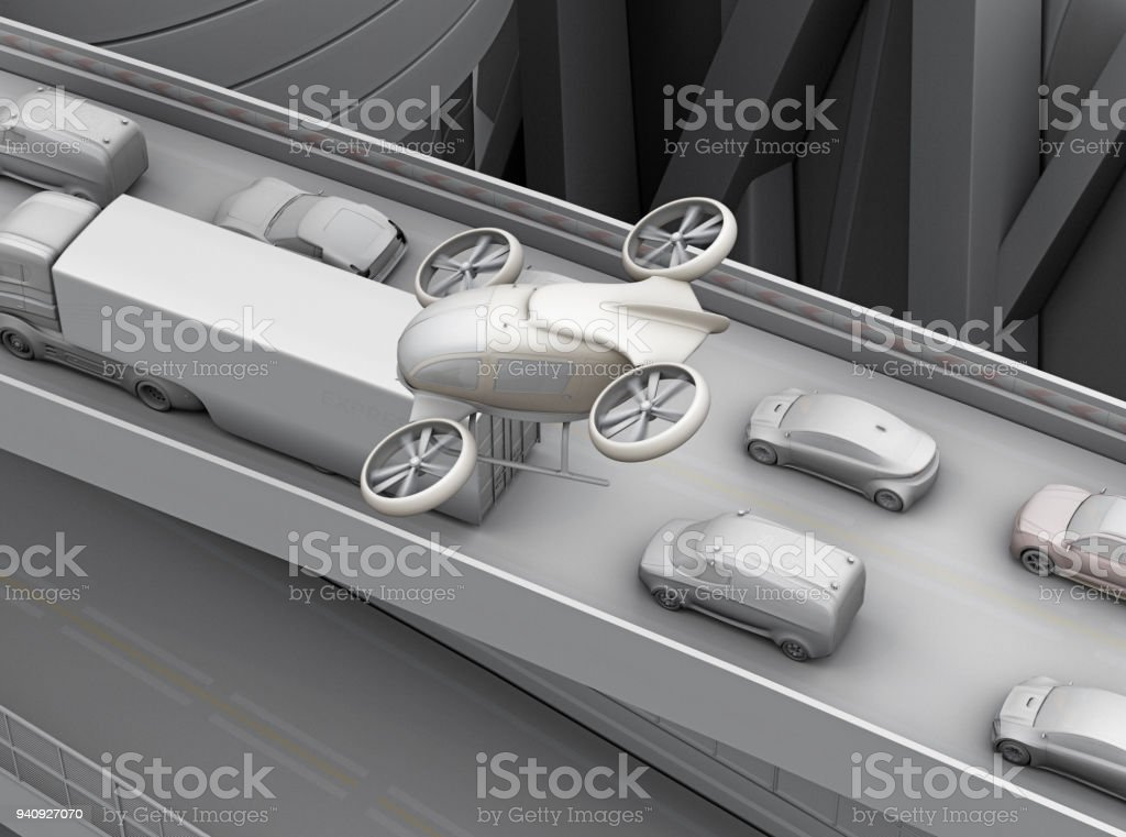 Clay rendering of passenger drone flying over cars in heavy traffic jam stock photo