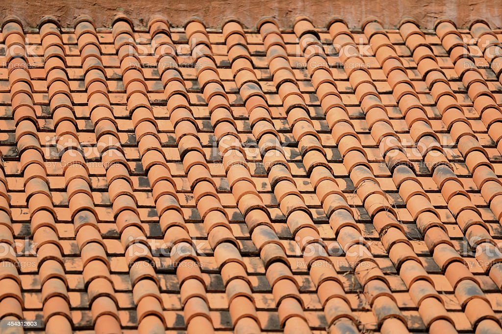 Clay Roof Tile Pattern in Thailand royalty-free stock photo
