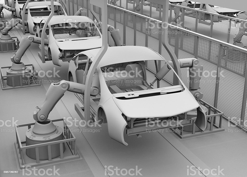 Clay shade image of electric vehicles assembly line stock photo