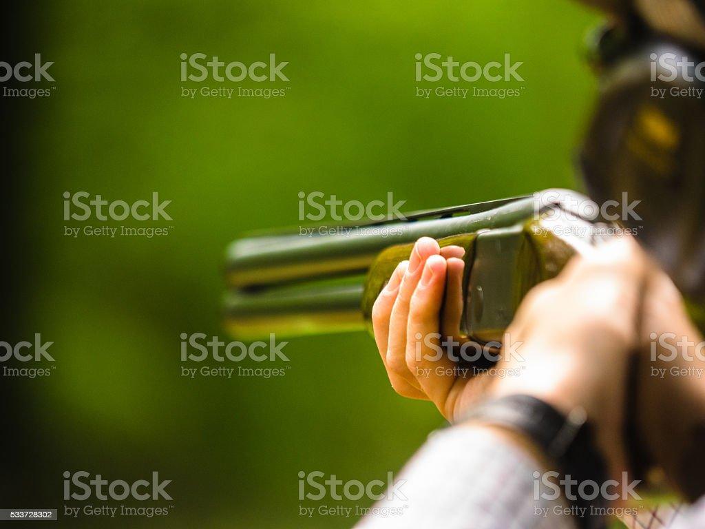 Clay shooting stock photo