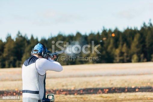 istock Clay target shooter 659036514