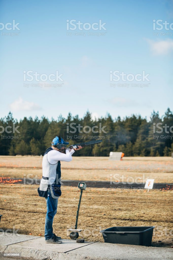 Clay target shooter royalty-free stock photo