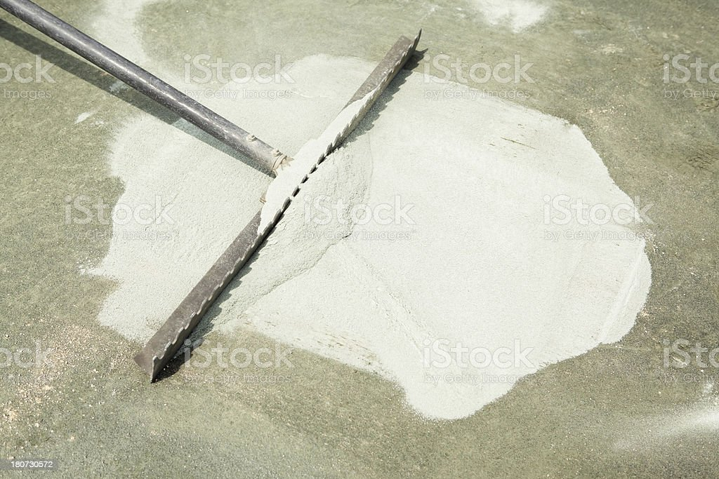 Clay Tennis Court Installation with Raw Powder stock photo