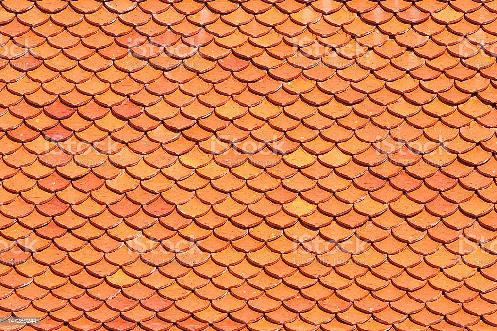 Clay tile on roof of Buddhist church royalty-free stock photo