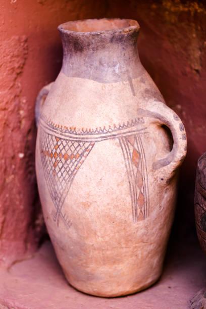 Clay vintage clay ceramic vase for argan oil stock photo