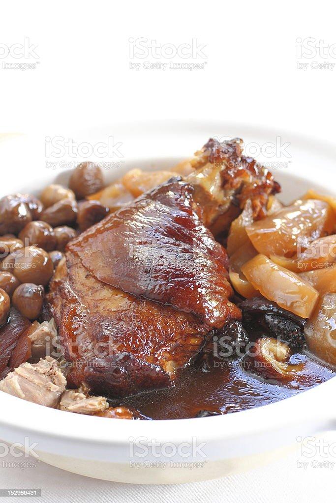 Claypot Braised Pork Knuckle stock photo