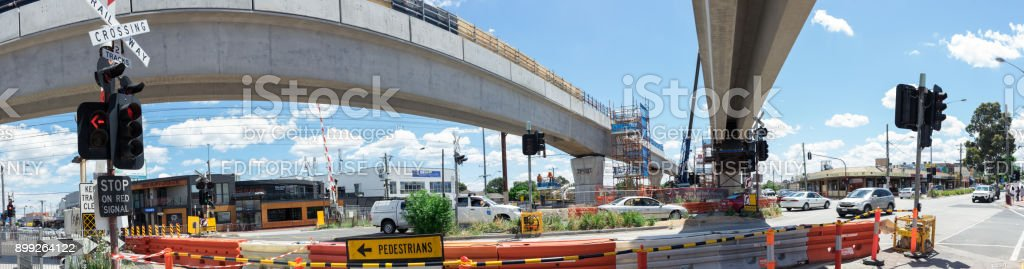 Clayton Road level crossing being replaced by skyrail elevated train tracks in Clayton, Melbourne stock photo
