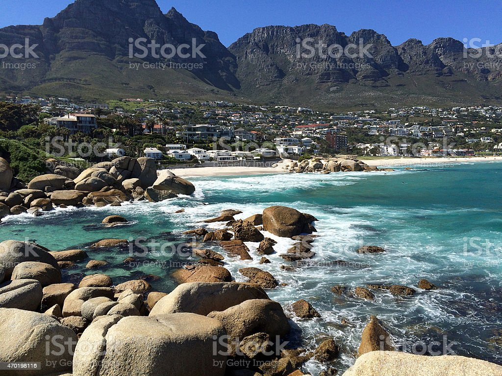 Clean Air From Cape-town South Africa Camp Bay Beach Seen stock photo