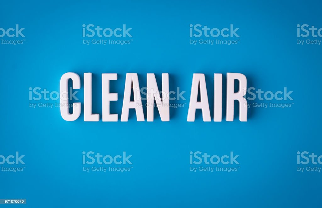 Clean air lettering sign stock photo