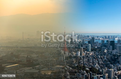 istock Clean and dirty air over a big city 639753678