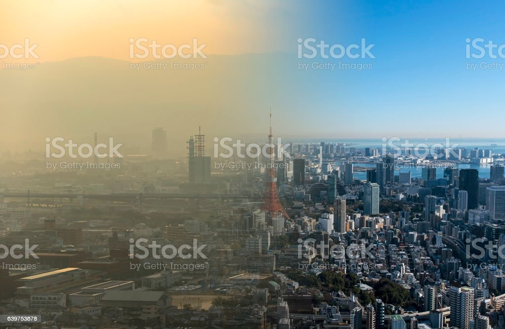 Clean and dirty air over a big city stock photo
