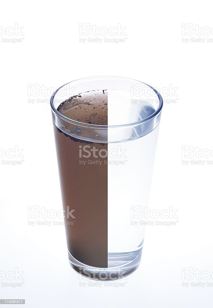 Clean and dirty water in one glass isolated on white stock photo