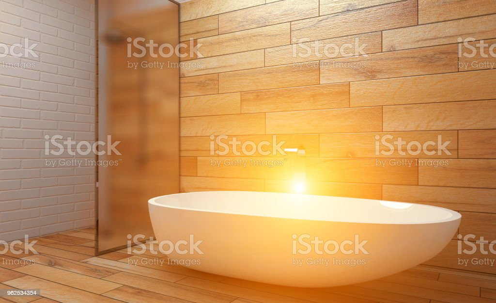 Clean and fresh bathroom with natural light. 3D rendering.. Sunset - Royalty-free Bathroom Stock Photo