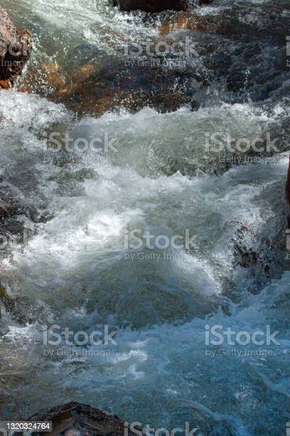 Photo of Clean and fresh mountain river flowing between the rocks. Front shot in fast flow.