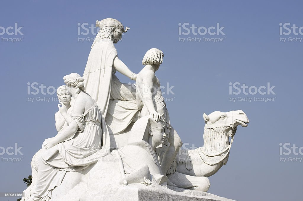 Mounted dromedary camel represents Africa on the Albert Memorial stock photo