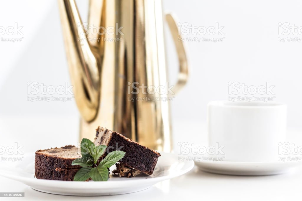 A clean background of bread and coffee stock photo