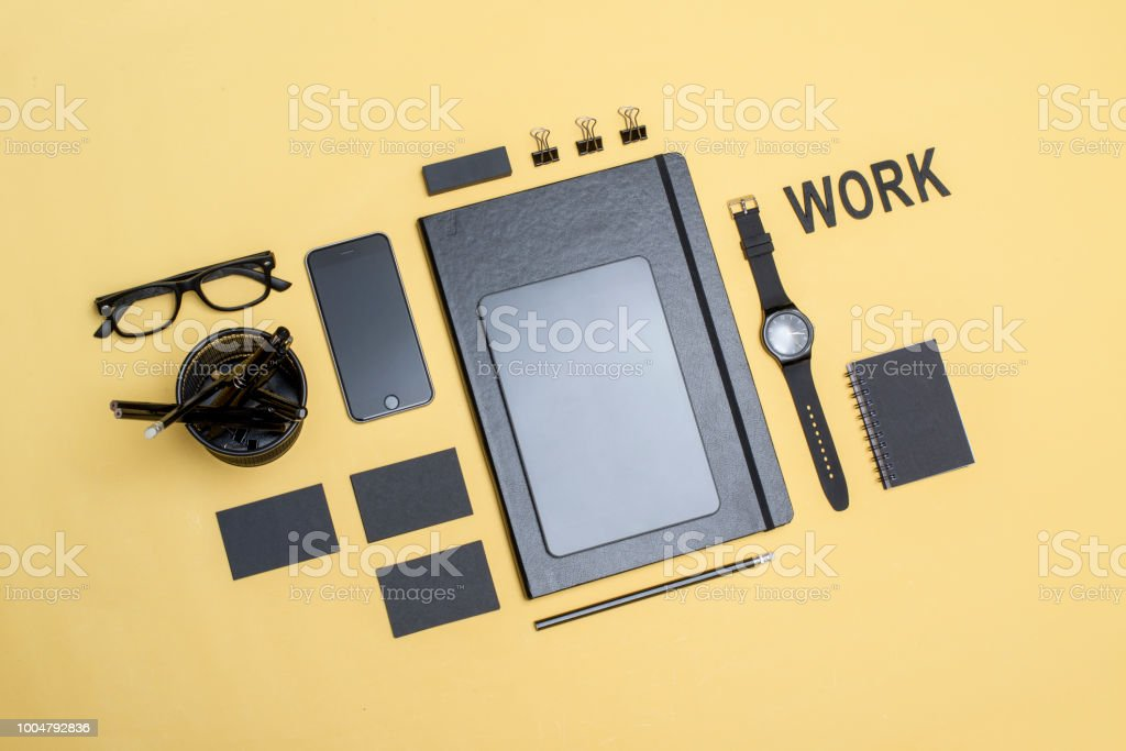 clean black corporate identity design mockup stock photo