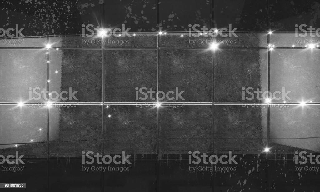 Clean Black Tile Wall Bathroom Background3d Illustration Stock